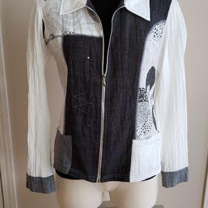 VEX Collection front zip patch blazer